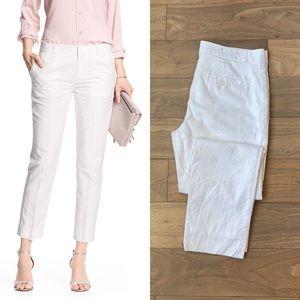BANANA REPUBLIC White Avery Linen Ankle Pants